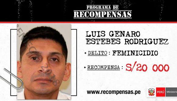 """Luis Estebes Rodríguez fue incluido en el Programa de Recompensas """"Los más buscados""""(Foto: Mininter)"""