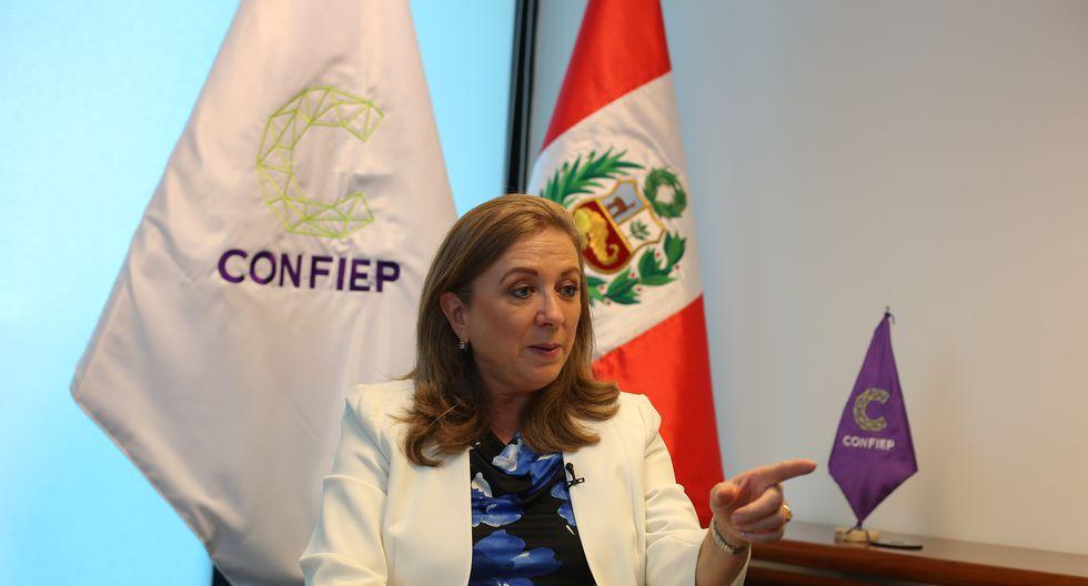 """La presidenta de Confiep, María Isabel León, pidió desde la CADE 2019 """"justicia sí, excesos no"""". (Foto: GEC)"""