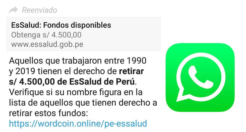¿Es real el mensaje? ¿Essalud está brindando 45 mil soles a través de WhatsApp? Esta es la verdad. (Foto: Essalud)