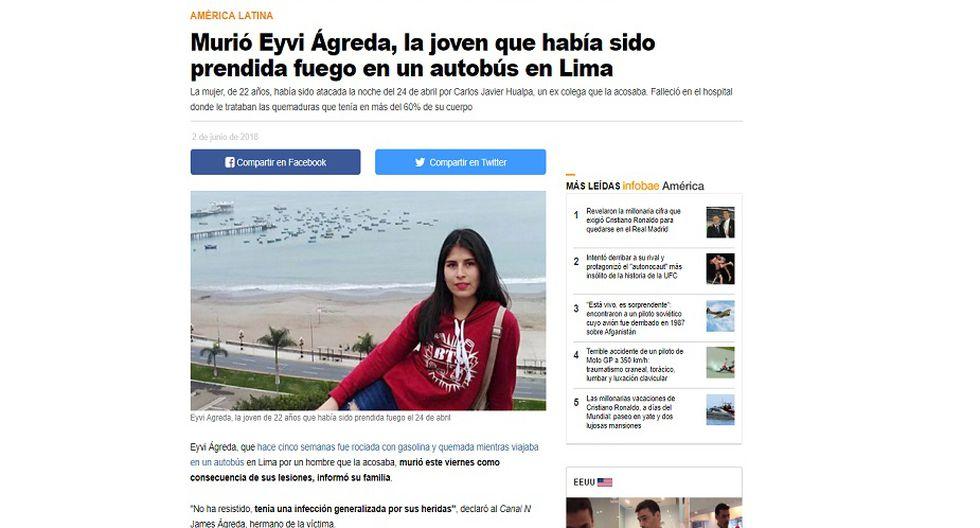 Infobae de Argentina informó sobre la muerte de Eyvi Ágreda.