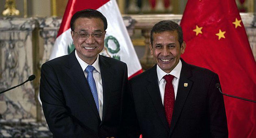 Ollanta Humala junto al Primer Ministro chino en su gira por Latinoamérica (Foto: AFP)
