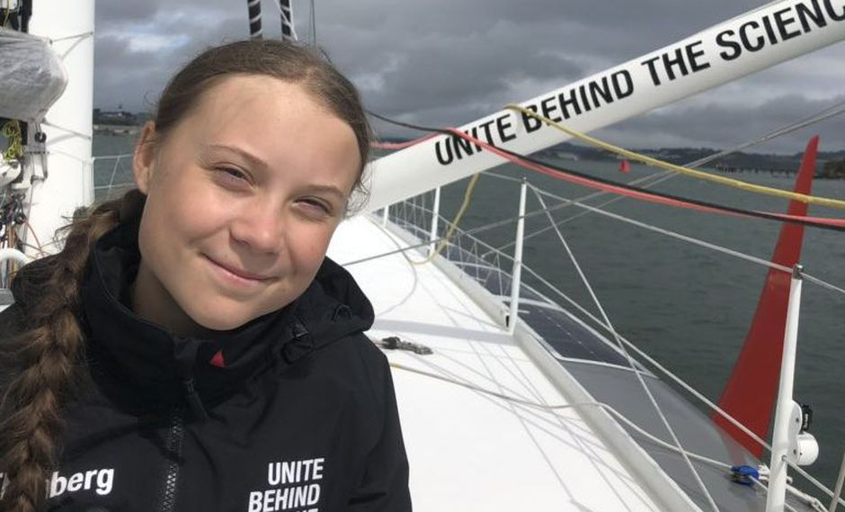 La joven activista viaja en un velero ecológico para llegar a la Cumbre de Acción Climática de Naciones Unidas en Nueva York. (Foto: Twitter @GretaThunberg)
