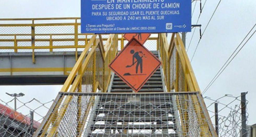 Desmontaje del puente peatonal se realizará para reemplazar la parte dañada y se volverá a montar en las siguientes semanas. (Foto: BDP)