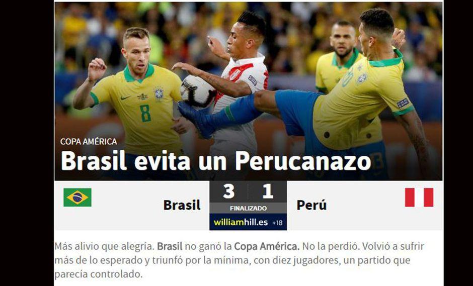 "Perú vs. Brasil: prensa internacional señala que no hubo ""Perucanazo"" en final de Copa América | FOTOS"