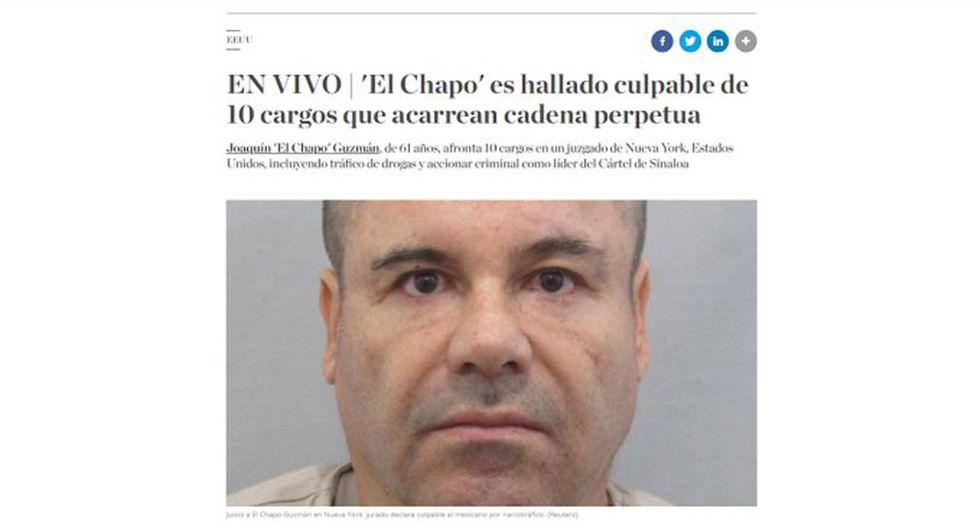 """Un jurado de Nueva York declaró culpable de todos los cargos a """"El Chapo"""" Guzmán. (Foto: El Comercio)"""