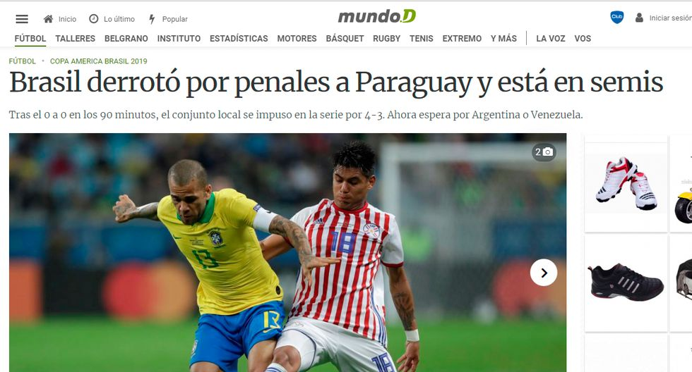 Así informó la prensa internacional la clasificación de Brasil y la tristeza de Paraguay. (Captura: Mundo D de Argentina)