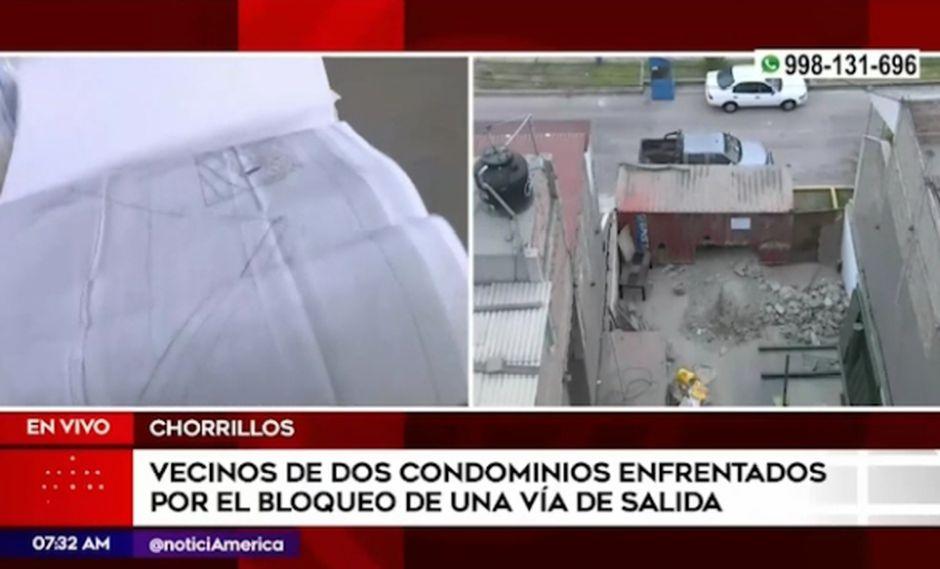 Los vecinos están enfrentados desde hace más de 10 años y aún no encuentran una solución. (Foto captura: América Noticias)