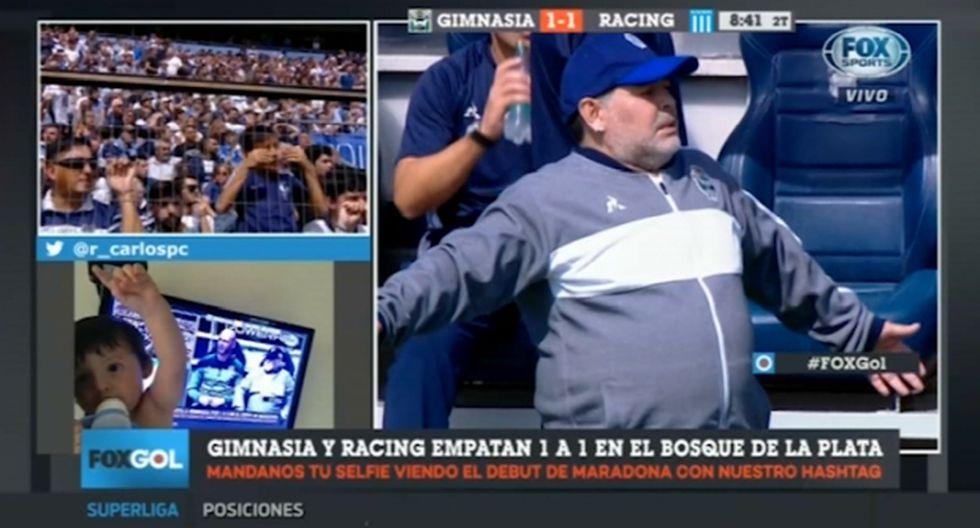 Diego Maradona sufrió así con el  gol de Zaracho para el 2-1. (Captura: Fox Sports)