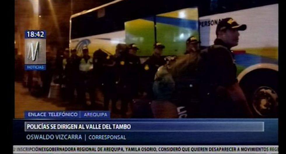 La policía llegó a fin de mantener la calma en la zona ante posibles protestas. (Foto: Captura Canal N)