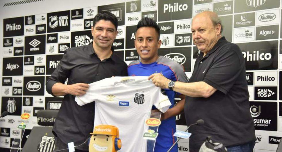 La presentación de Christian Cueva en el Santos de Brasil. (Foto: @SantosFC)