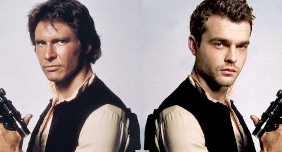Izquierda: Harrison Ford. Derecha: Alden Ehrenreich.