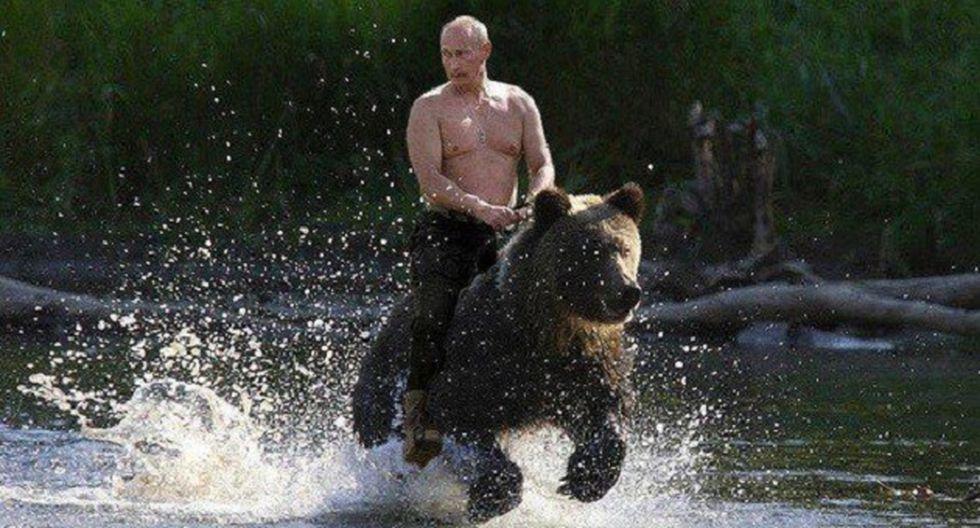 Vladimir Putin montando un oso (Foto: Difusión)