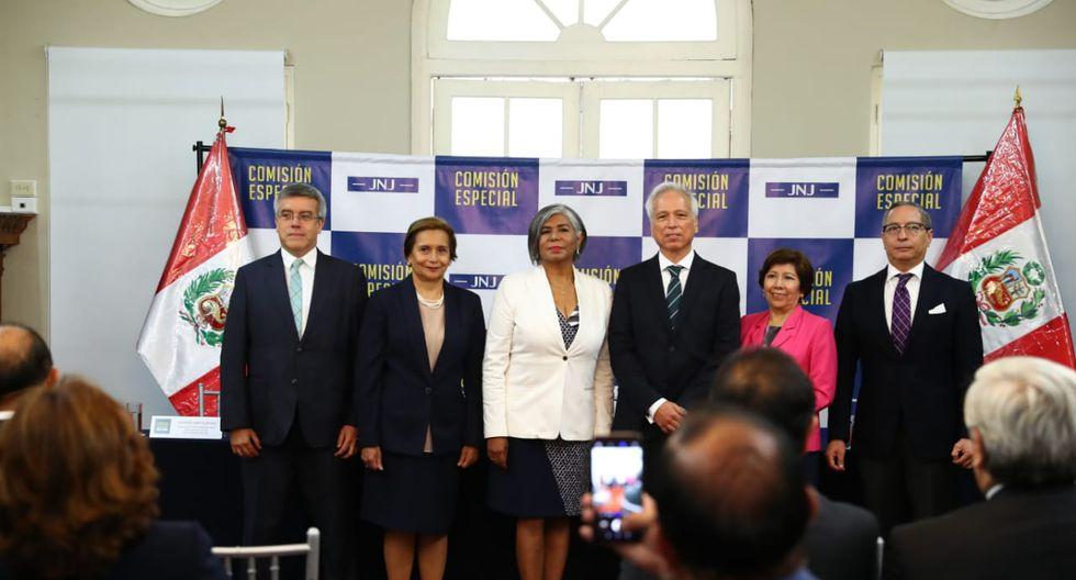 Seis de los siete integrantes que conforman la JNJ. (Foto: Alessandro Currarino/GEC)