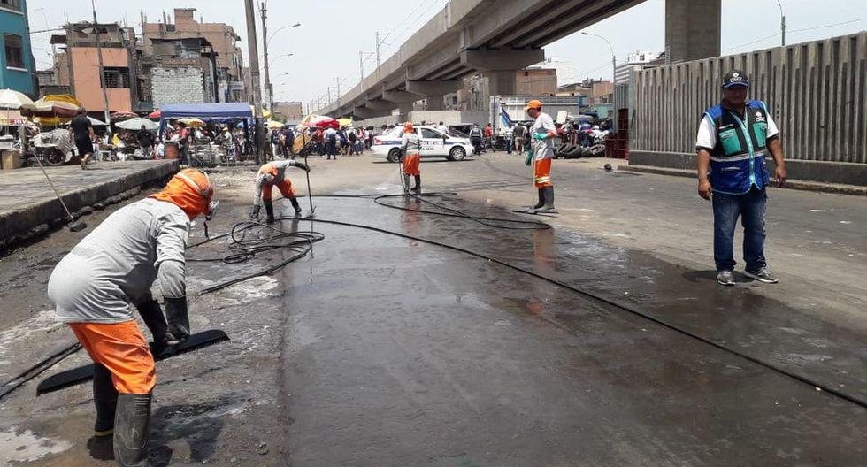 La Municipalidad de Lima efectuó la limpieza de pistas y veredas de la avenida Aviación y alrededores. (Difusión)