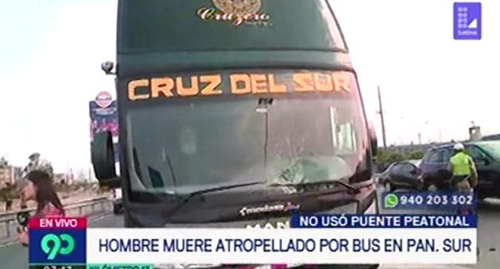 Hombre muere atropellado por bus interprovincial en la Panamericana Sur (Captura: Latina)