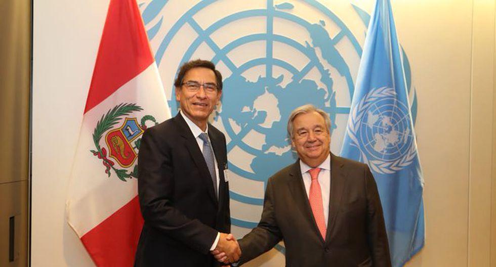 El presidente Martín Vizcarra se reunió con el secretario de Naciones Unidas, Antonio Guterres. (Foto: Presidencia)