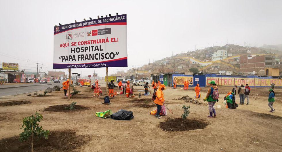 Este fin de semana se realizó una limpieza en el terreno donde se construirá el hospital de Manchay, (Difusión)
