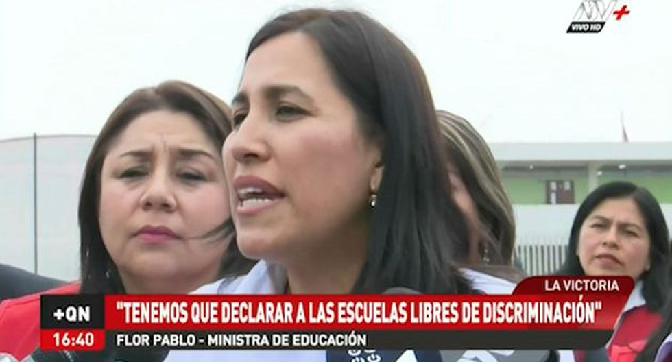 La ministra de Educación, Flor Pablo, se pronunció sobre un presunto caso de discriminación en un colegio de Magdalena. (ATV+)