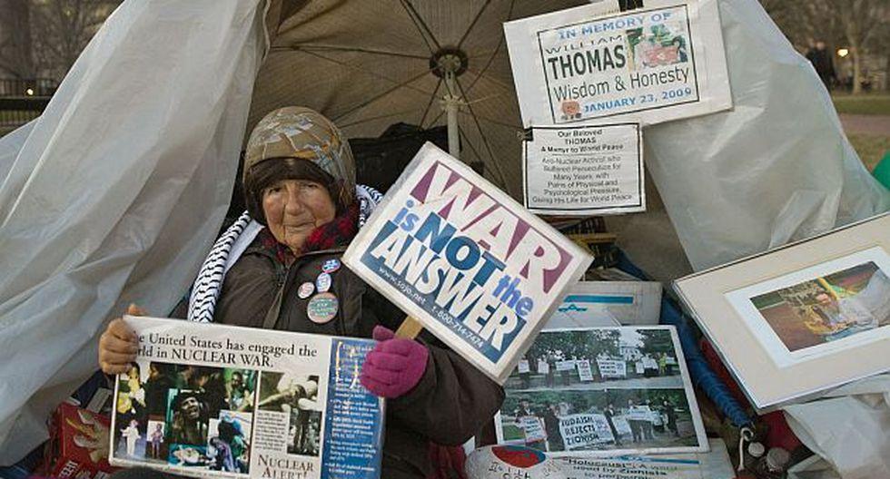 Conchita Picciotto en su carpa frente a la Casa Blanca (Foto: AFP)