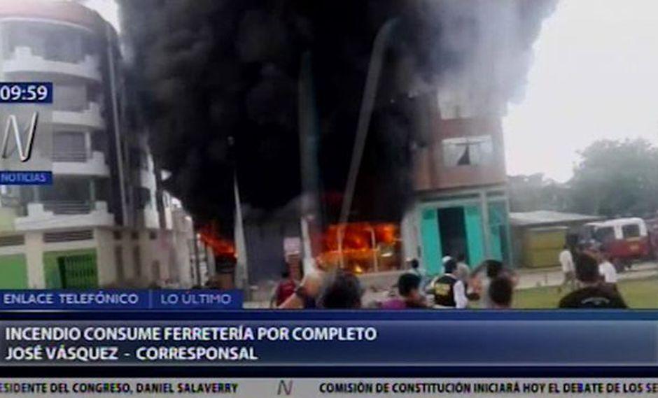 Cajamarca: incendio consume almacén de ferretería en Jaén   VIDEO