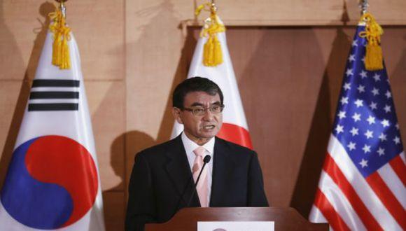 Canciller de Japón Taro Kono. Foto: AFP