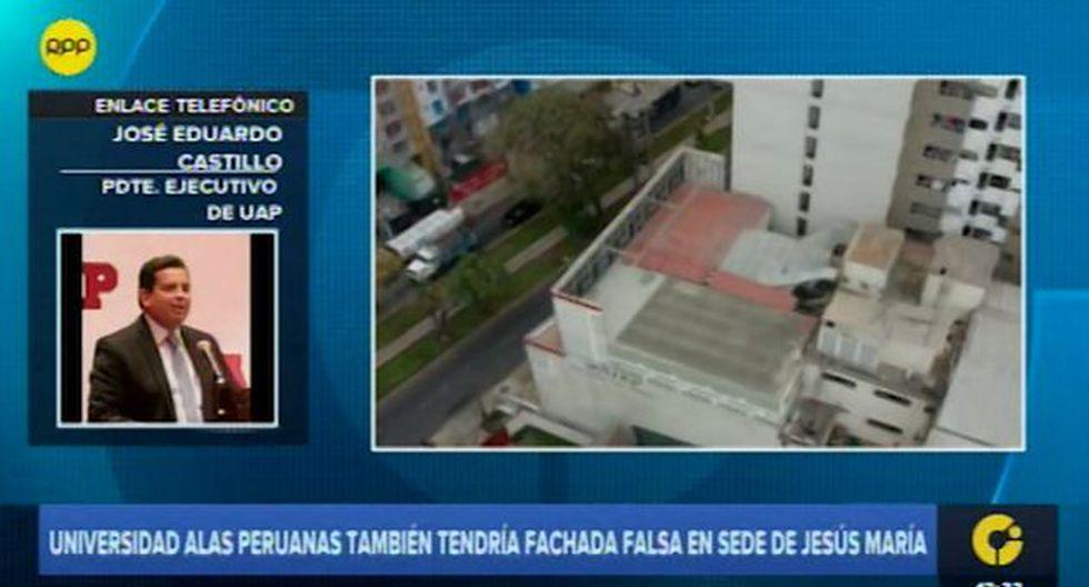 La Universidad Alas Peruanas defendió la estructura que colocó en su último piso de la sede situada en Jesús María. (RPP Televisión)