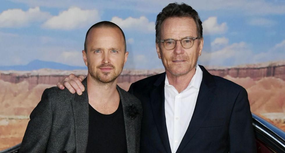 """WESTWOOD, CALIFORNIA - OCTOBER 07: Aaron Paul and Bryan Cranston attend the premiere of Netflix's """"El Camino: A Breaking Bad Movie"""" at Regency Village Theatre on October 07, 2019 in Westwood, California.   Jon Kopaloff/Getty Images/AFP"""