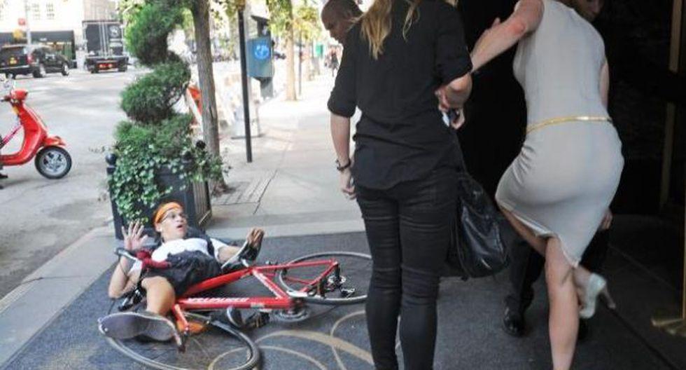 Momento del accidente en Nueva York (Foto: Just Jared)