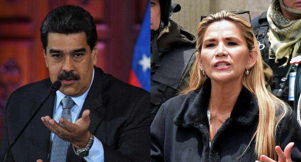 """La abogada de 52 años prometió convocar nuevas elecciones """"lo más pronto posible"""" en Bolivia. En la imagen, Nicolás Maduro y Jeanine Áñez. (Foto: AFP)"""