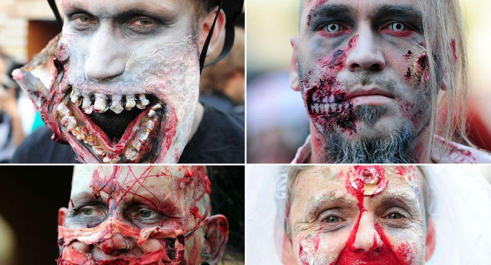 Cientos de fanáticos de los muertos vivientes hicieron una caminata por las vías principales de Frankfurt (Foto: AFP)