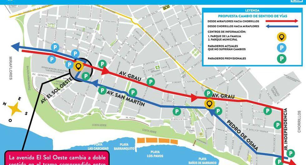 El sábado sábado 16 y domingo 17 de noviembre pondrán en marcha el 'Plan piloto reordenamiento vial' . (Foto: Municipalidad de Barranco)