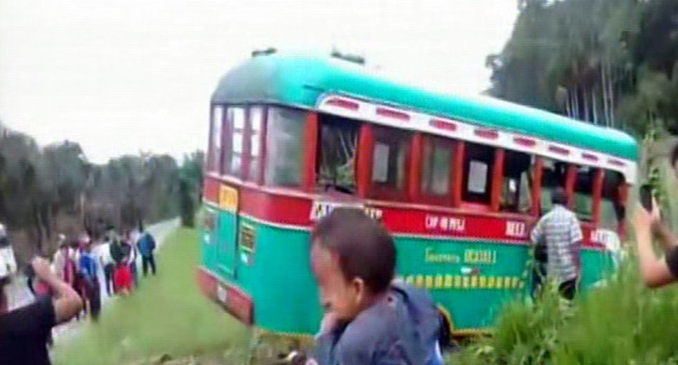 El bus interprovincial transportaba votantes desde Nauta hacia Iquitos. (Captura: RPP)