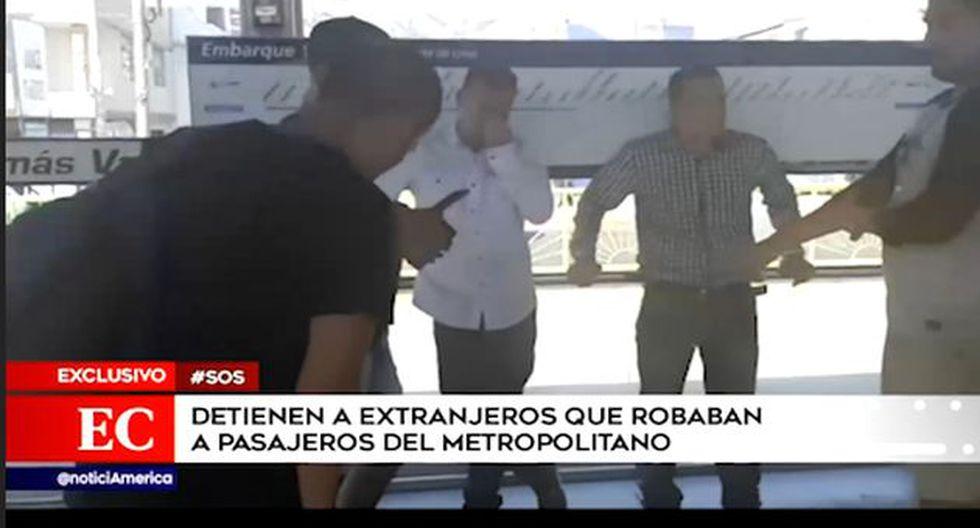 Agentes del Escuadrón Verde Lima capturaron a ambos ciudadanos de nacionalidad colombiana. (Captura: América Noticias)