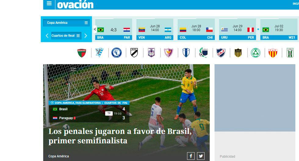 Así informó la prensa internacional la clasificación de Brasil y la tristeza de Paraguay. (Captura: Ovación de Uruguay)