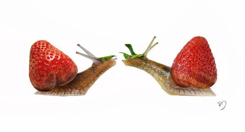 Caracoles con fresas.