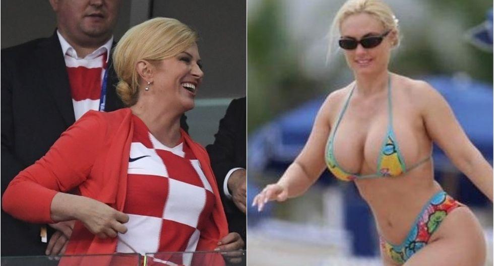 Kolinda Grabar-Kitarovic, presidenta de Croacia, y Nicole Coco Austin modelo internacional.(Foto: AFP)
