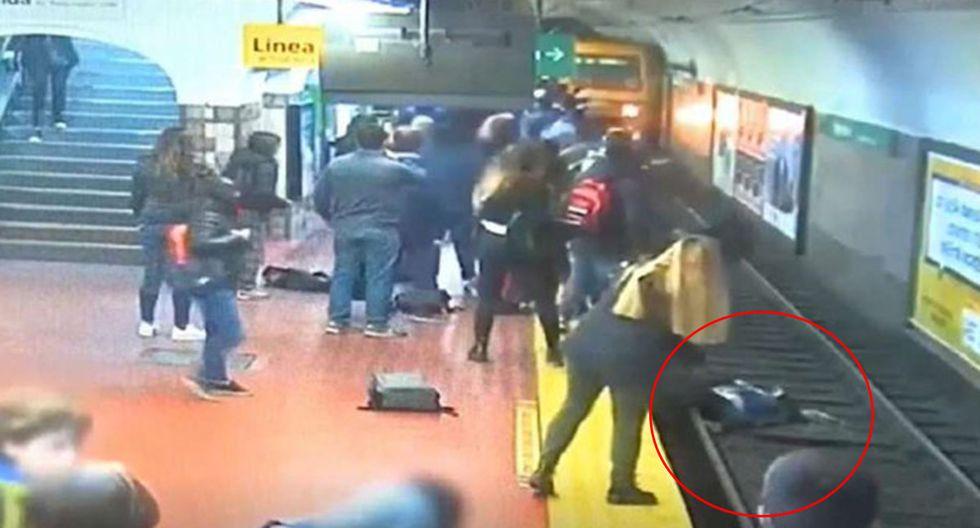 Una mujer salvó de morir en el metro de Buenos Aires. (Foto: Captura de video)