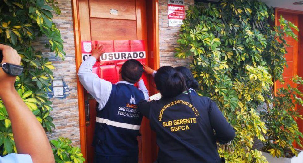 Municipalidad de Surco, a través de la Subgerencia de Fiscalización, clausuró este martes una clínica clandestina. (Foto: Municipalidad de Surco)