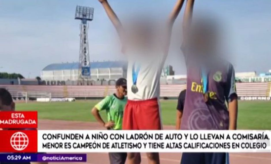 Un suboficial vestido de civil acusó al niño de 11 años de ladrón de autos (Foto: Captura América TV)