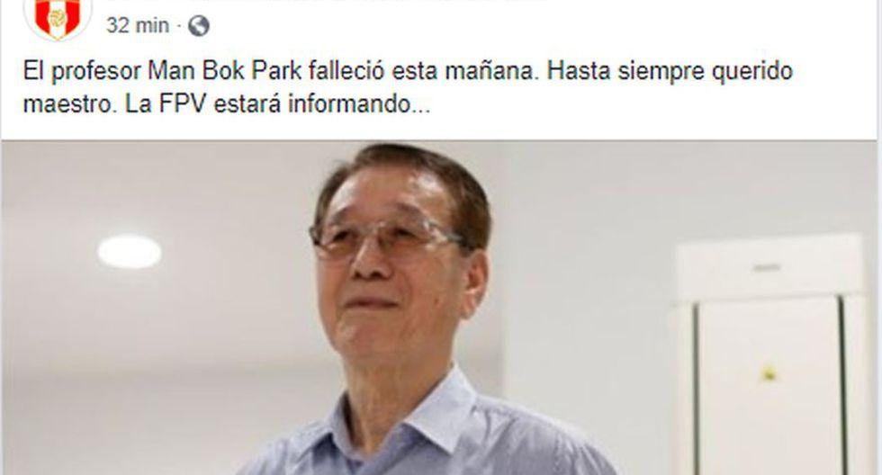 El Perú lamenta así la muerte de Man bok Park en redes sociales.
