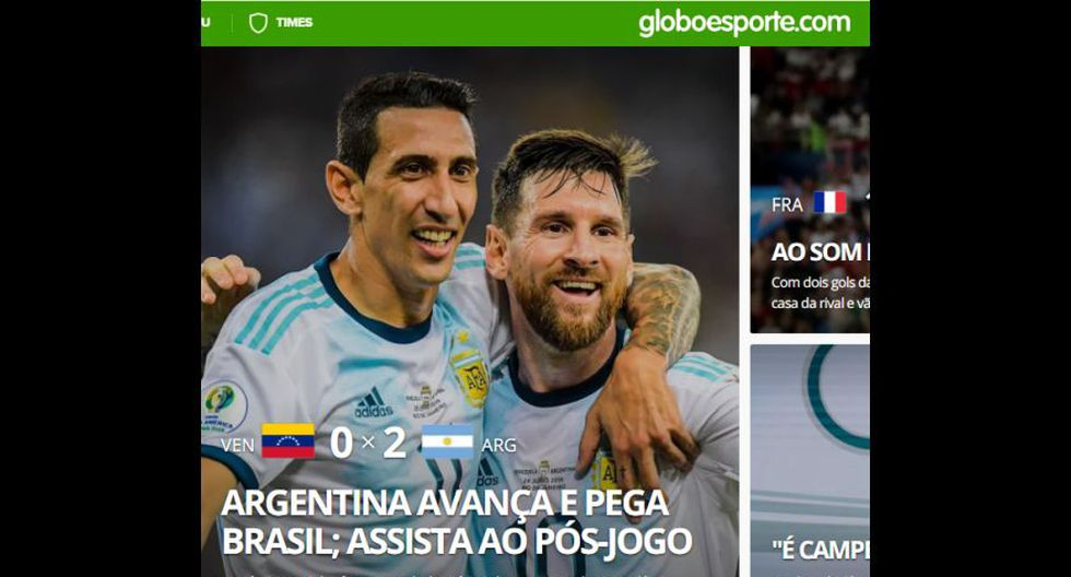 Así informa el mundo sobre la victoria (2-0) de Argentina sobre Venezuela y clasificación a semifinales de la Copa América 2019.