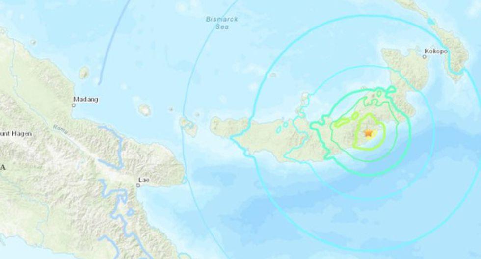 Terremoto en Papúa Nueva Guinea. (USGS)
