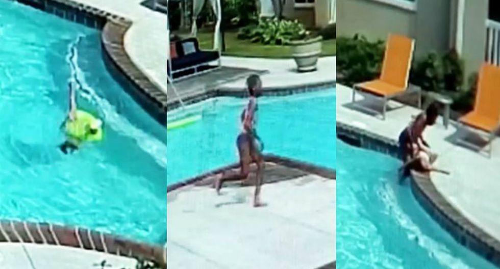 En un arrebato de adrenalina, niña salva a hermana menor de morir ahogada en piscina. (Captura)
