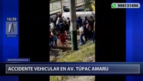 Esta tarde se registró un accidente vehicular en la avenida Túpac Amaru, en el distrito de Independencia. (Video: Canal N)
