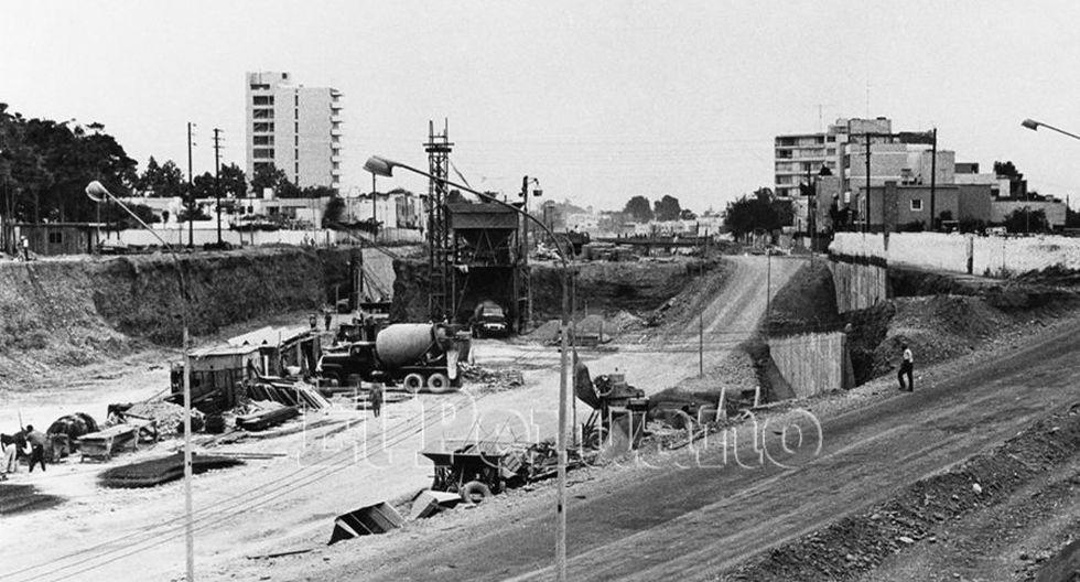 16 noviembre 1971 / Construcción de la segunda etapa de la vía expresa del Paseo de la República. (Foto: Agencia Andina)