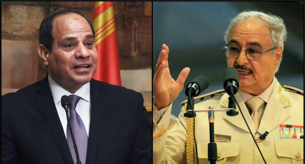 """Al sisi (presidente de Egipto) y Haftar (mariscal libio) conversaron sobre """"la evolución de la situación en Libia"""". (Foto: AFP)"""