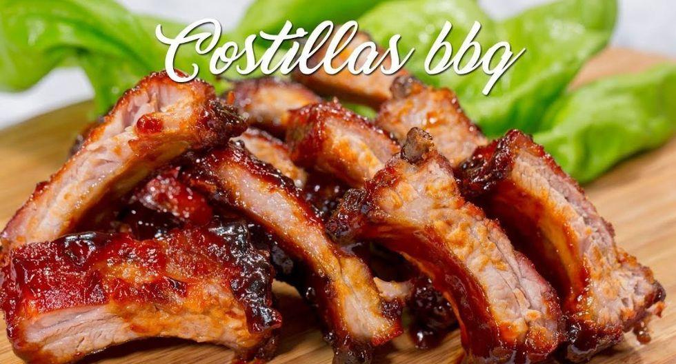 Costillas de cerdo a la BBQ. (Captura: A comer)