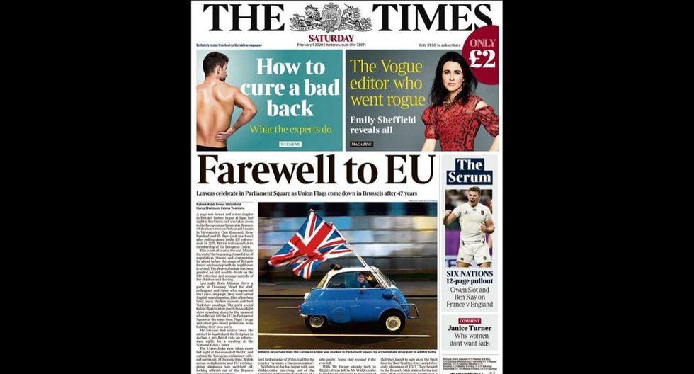 """""""Adiós a la UE"""" señala The Times con la imagen de un auto a velocidad con la bandera de Reino Unido. (The Times)"""