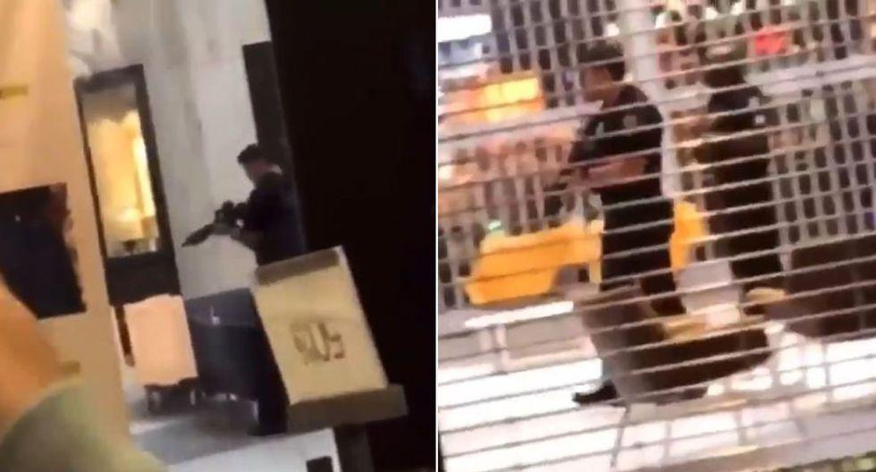 Policía de Boca de Ratón, al norte de Miami, inspecciona el centro comercial donde se reportó un tiroteo. (Foto: Captura de video)