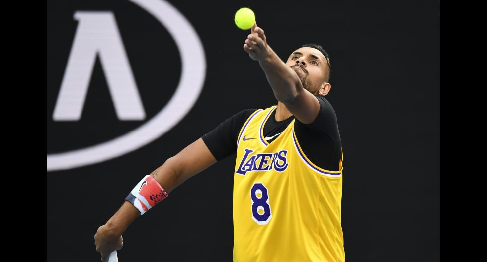 El homenaje de Nick Kyrgios a Kobe Bryant previo al duelo frente a Rafael Nadal. (Foto: AFP)